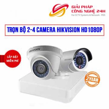 Trọn bộ 2 camera Hikvision HD1080P cho công ty , cửa hàng (SILVER H42020)