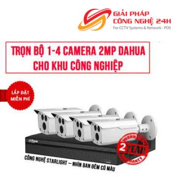 Trọn bộ 1-4 camera 2.0MP DAHUA cho khu công nghiệp