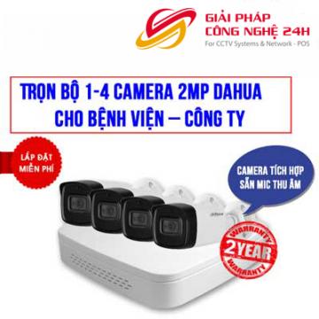 Trọn bộ 1-4 camera 2MP DAHUA cho Phòng khám – Công ty nhỏ
