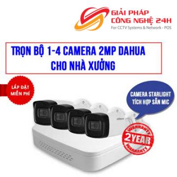 Trọn bộ 1-4 camera 2.0MP Starlight Dahua cho Nhà xưởng