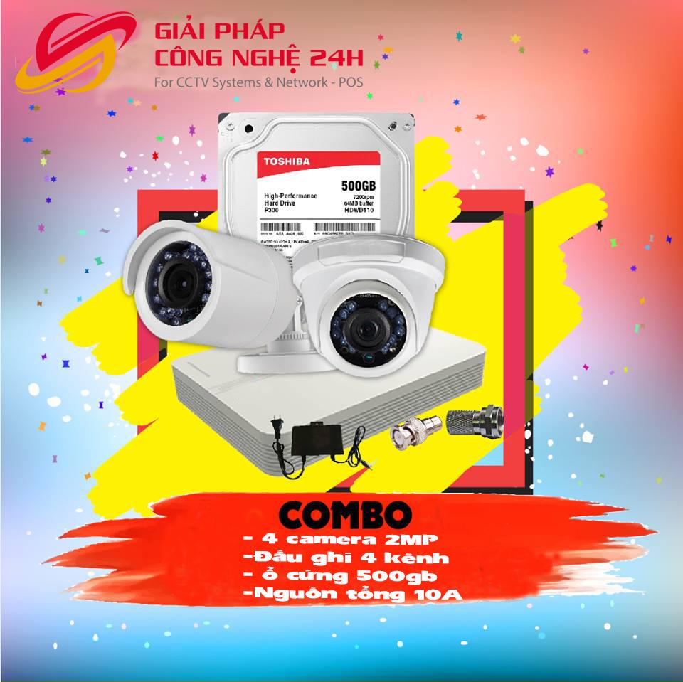 Trọn bộ 2 camera hikvision 2mp giá rẻ tại Bắc Ninh