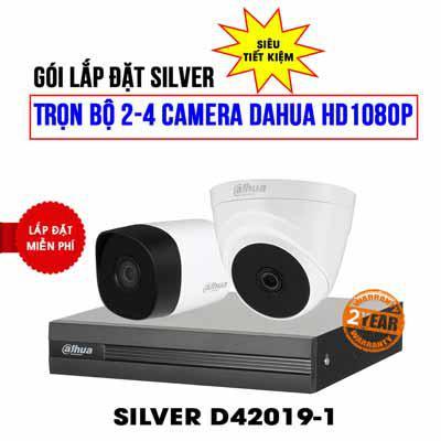 Trọn bộ 2 camera Dahua HD 1080P cho gia đình và cửa hàng (SILVER D42019-1)