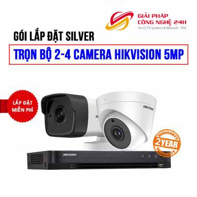 Trọn bộ 2 camera HIKVISION 5MP cho nhà hàng , Cửa hàng Tạp Hóa (SILVER H42010-4)