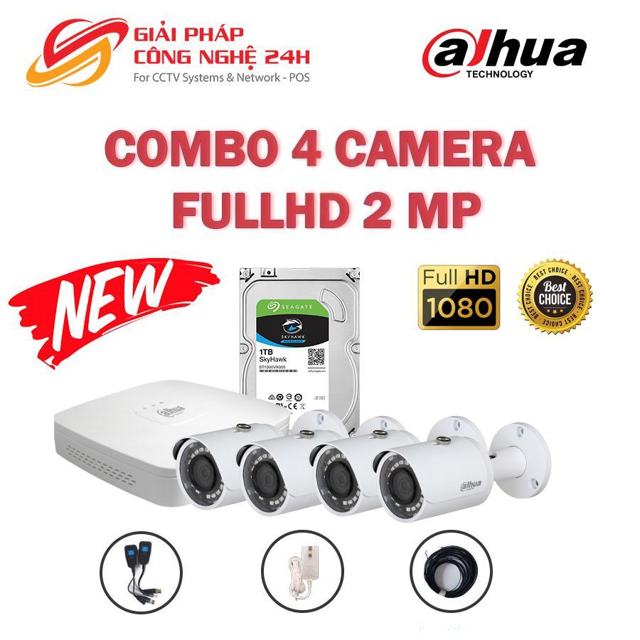 Trọn bộ 4 Camera Dahua 2MP