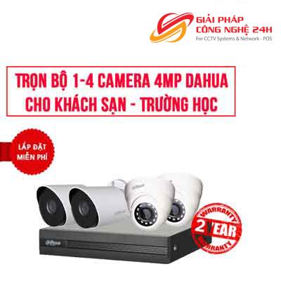 Trọn bộ 2-4 camera 4.0MP DAHUA giá rẻ cho trường học khách sạn