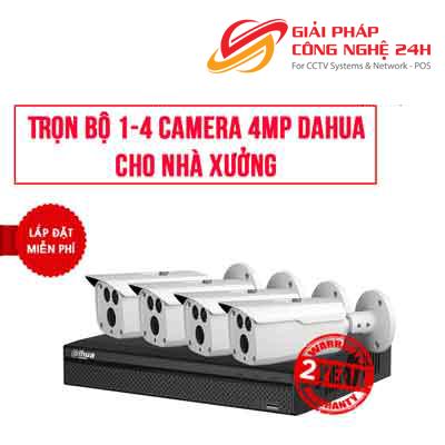 Trọn bộ 1-4 camera 4.0MP DAHUA cho Nhà Xưởng Cửa hàng